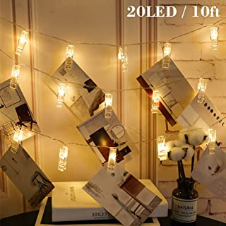 Twinkle Star 10ft 20 Photo Clips String Lights Battery Operated Fairy String Lights with..