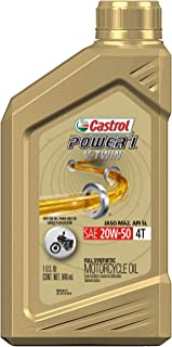 Castrol 06116 POWER1 V-TWIN 4T 20W-50 Synthetic Motorcycle Oil, 1 Quart Bottle, 6 Pack