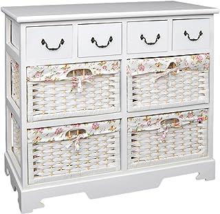 Cómoda Blanca con 4 cajones y 4 cestas con Fundas de Flores Rosadas para baño Pasillo