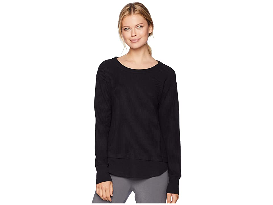 Donna Karan Long Sleeve Top (Black) Women