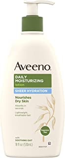 Aveeno Sheer Hydration Daily Moisturizing Lotion for Dry Skin with Soothing Oat, Lightweight, Fast-Absorbing & Fragrance-Free Intense Body Moisturizer, 18 fl. oz