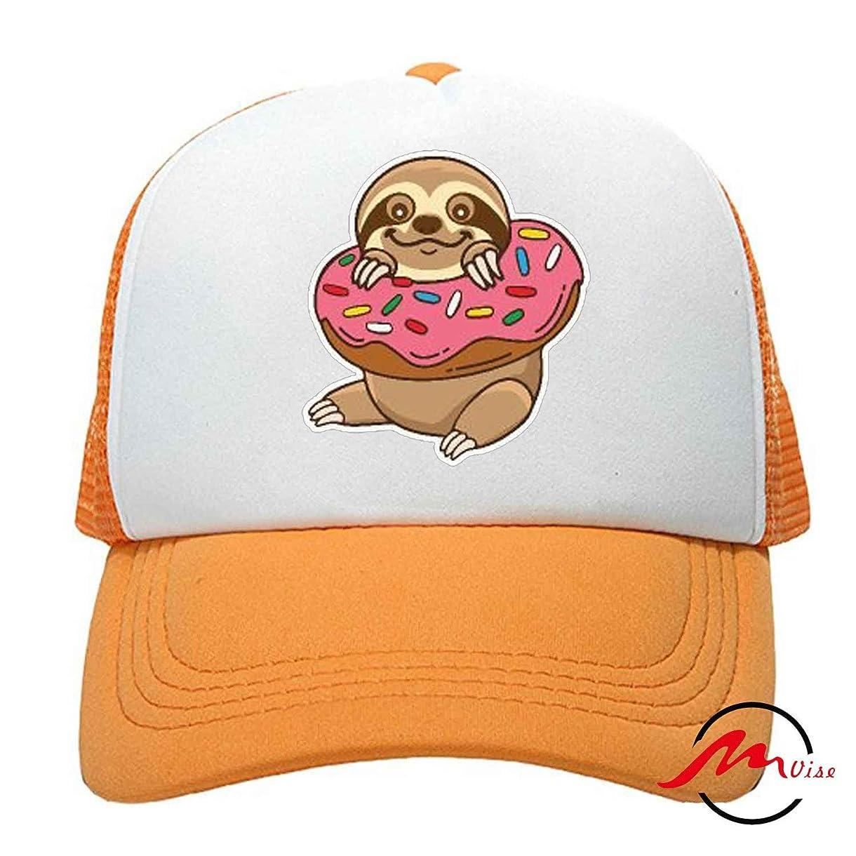 フォーム道徳の紛争ZMvise Sloth Loves Donut 男女兼用の十代の大人の習慣はかわいい野球帽のトラック運転手の網の帽子を印刷しました