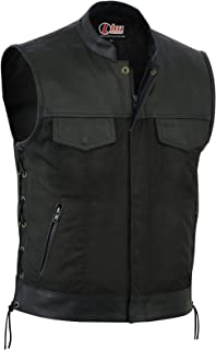 New Mens Codura Biker Waistcoat/Vest Black Real Leather Trim Side Laced Up