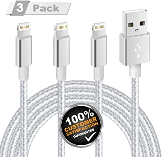 iPhone Charger, MFi Certified Lightning Cable 3 Pack 10FT Nylon Braided USB Charging Cord Compatible with iPhone 11/XS/XR/X/8/7/6/5/iPad(Silver Gray)
