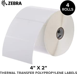 Zebra - 4 x 2 in Thermal Transfer Polypropylene Labels, PolyPro 3000T Permanent Adhesive Shipping Labels, Zebra Desktop Printer Compatible, 1 in Core - 4 Rolls