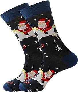 Wadonerful Christmas Socks Santa Claus Elk Cotton Socks for Adult Unisex Xmas Elk Print Soft Crew Socks Compression Socks