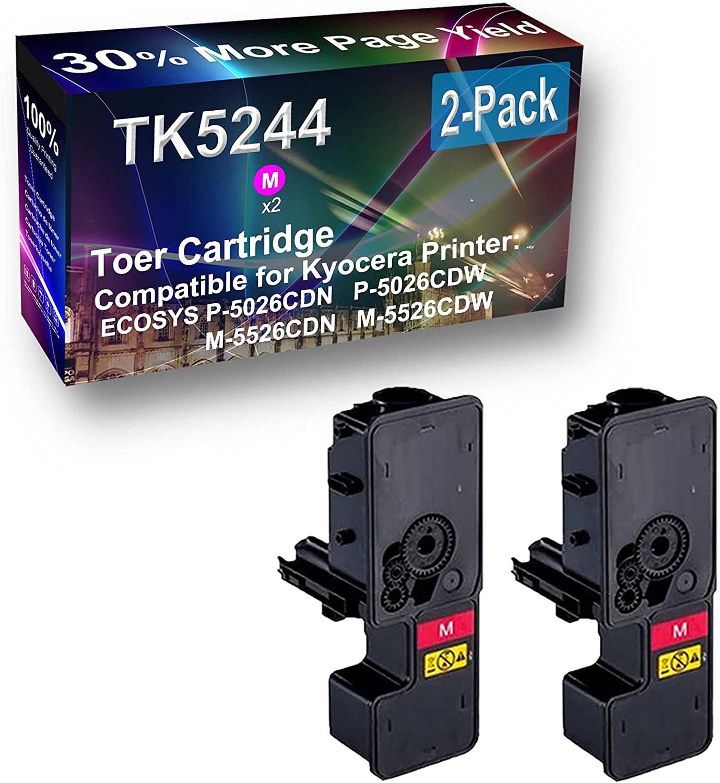 2-Pack (Magenta) Compatible High Capacity TK5244 (TK-5244M) Toner Cartridge Used for Kyocera ECOSYS P-5026CDN P-5026CDW Printer