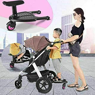 Universal Buggy Board with Seat,Kids Standing Board Seat Removable and Assembling,Ideal for Baby Jogger Travel Pram Pushchair Second Child Artifact Trailer Twins Baby Cart Two