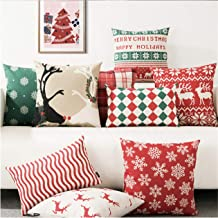 Kridhay Natura Life Velvet Christmas Decorative Throw Pillow/Cushion Covers (Multicolour, 16 x 16 inch) - Set of 7