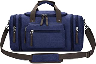 Toupons 20.8'' Large Canvas Travel Tote Luggage Weekender Duffle Bag (Blue)