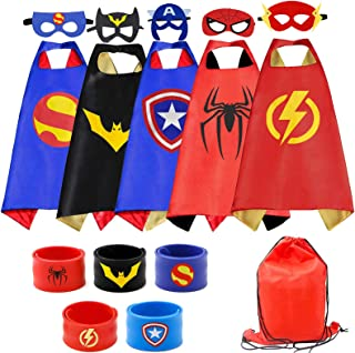 RioRand Superhero Capes 5PCS Kids Costumes with Masks and Slap Bracelets Original Logo for Boys Dress Up Party Favors - Mu...