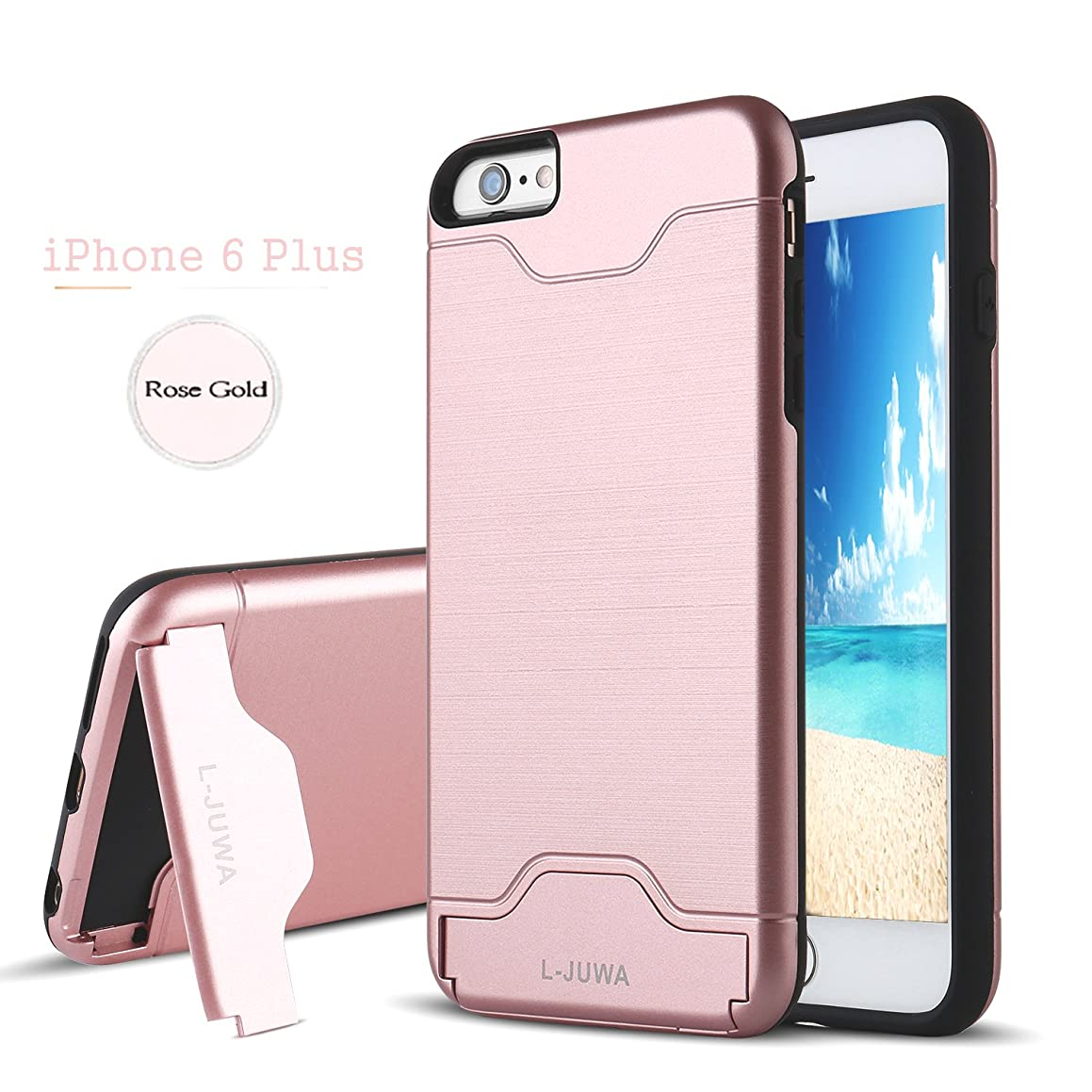 iPhone 6 Plus Case, L-JUWA [Card Slot Holder][KickStand] Shockproof Slim Fit Dual Layer Hybrid Protection Case Cover for Apple iPhone 6 Plus/6S Plus (Rose Gold)