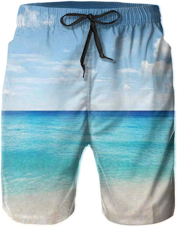MUJAQ Tropical Carribean Sea Shore Sand Beach Blue Calm Peaceful Sea Mens Swim Shorts Casual Workout Short Pants Drawstring Beach Shorts,L