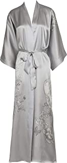 Kimono Damen Nachthemd aus Seide, lang, handbemalt