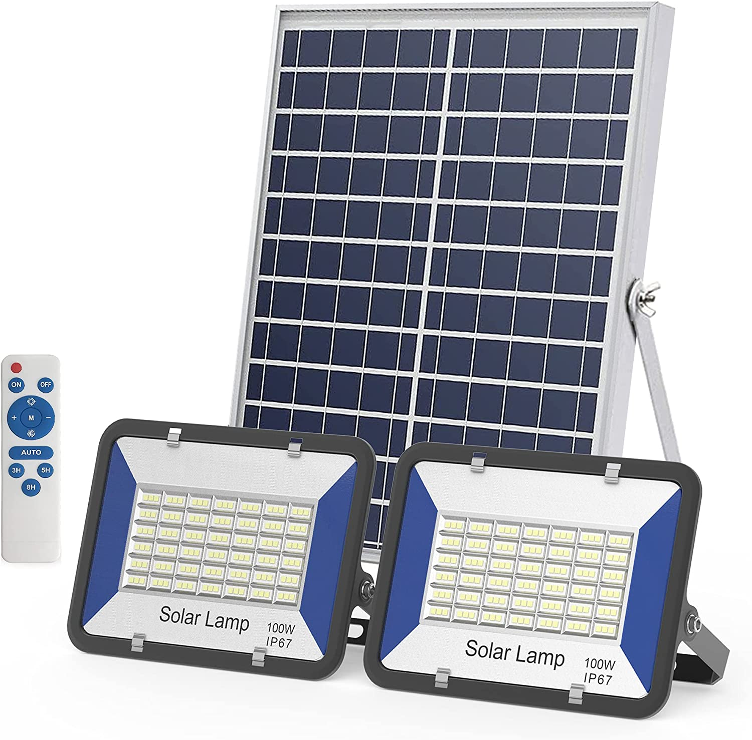 Solar Flood Light, 2 Pack 100W Dusk to Dawn with Remote Control LED Bright White Floodlights, Ip67 Waterproof Solar Power Light for Yard, Garden, Shed
