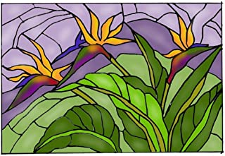 Bird of Paradise Art Glass Panel Wall Window Hanging Suncatcher 14 x 20