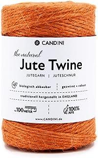 Candini Jutegarn - orange , 100m Bastelschnur - ø 2-3mm reine Jute - Schnur Kordel | Premium Qualität - Made in England - Paketschnur, Dekoration, Garten, Verpackung