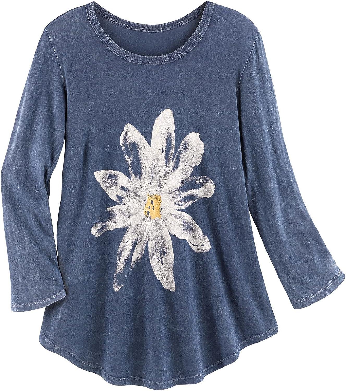 Jess & Jane Women's Watercolor Daisy Print Tunic Top - 3/4 Sleeves Shirt, Blue