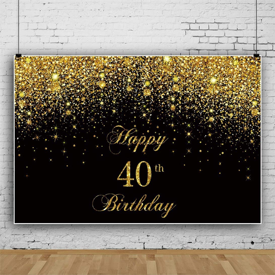 15x10ft Vinyl Photography Backdrop Happy 30th Birthday Golden Words Balloon Diamond on Black Background 30 Years Old Birthday Party Decorations Photo Studio Prop