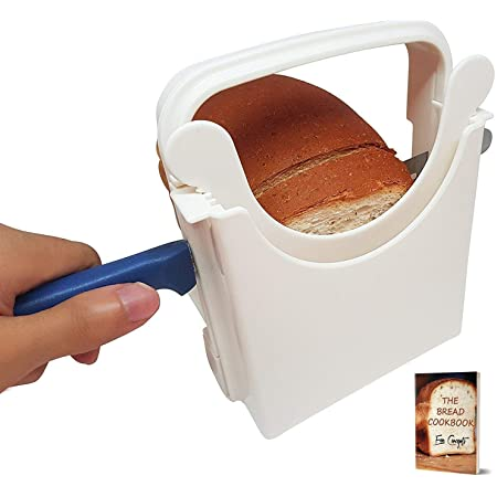 Eon Concepts Bread Slicer Guide For Homemade Bread With Rubber Feet Paddings and E-book   Loaf Cutter Machine - Foldable Adjustable & Customizable to 5 Thickness   Bagel/Sandwich/Toast Slicer  