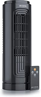 Brandson - Ventilador de Mesa con telecomando -Ventilador de Torre Compacto con oscilación 20 W - 31.5 cm - Oscilación 60 Grado - 3 Niveles de Velocidad- Temporizador - silencioso - Certificado GS