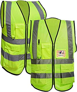 Misslo 5 Pockets High Visibility Safety Vest Zipper Front With Reflective Strips, Neon Yellow(XL), 2 Packs