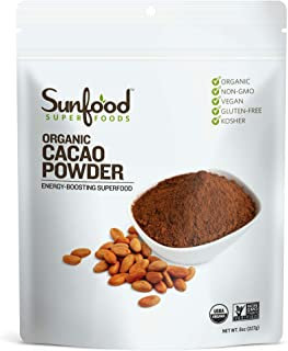 Sunfood Superfoods Cacao Powder- Pure Raw Organic. 8 oz Bag
