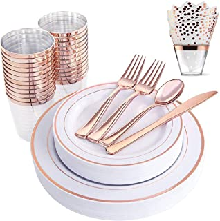 200 Piece Rose Gold Plastic Dinnerware Set - Disposable Heavy Duty Plastic Plates Setting include 25 Dinner Plates, 25 Desserts Plates, 25 Cups, 25 Forks, 25 Knives, 25 Spoons, 50 Napkins
