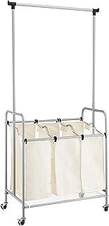 Amazon Basics Chariot trieur de linge à 3 sacs avec tringle de suspension
