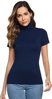 Women Short Sleeve Lightweight Mock Turtleneck Top Knit Pullover Sweater Top