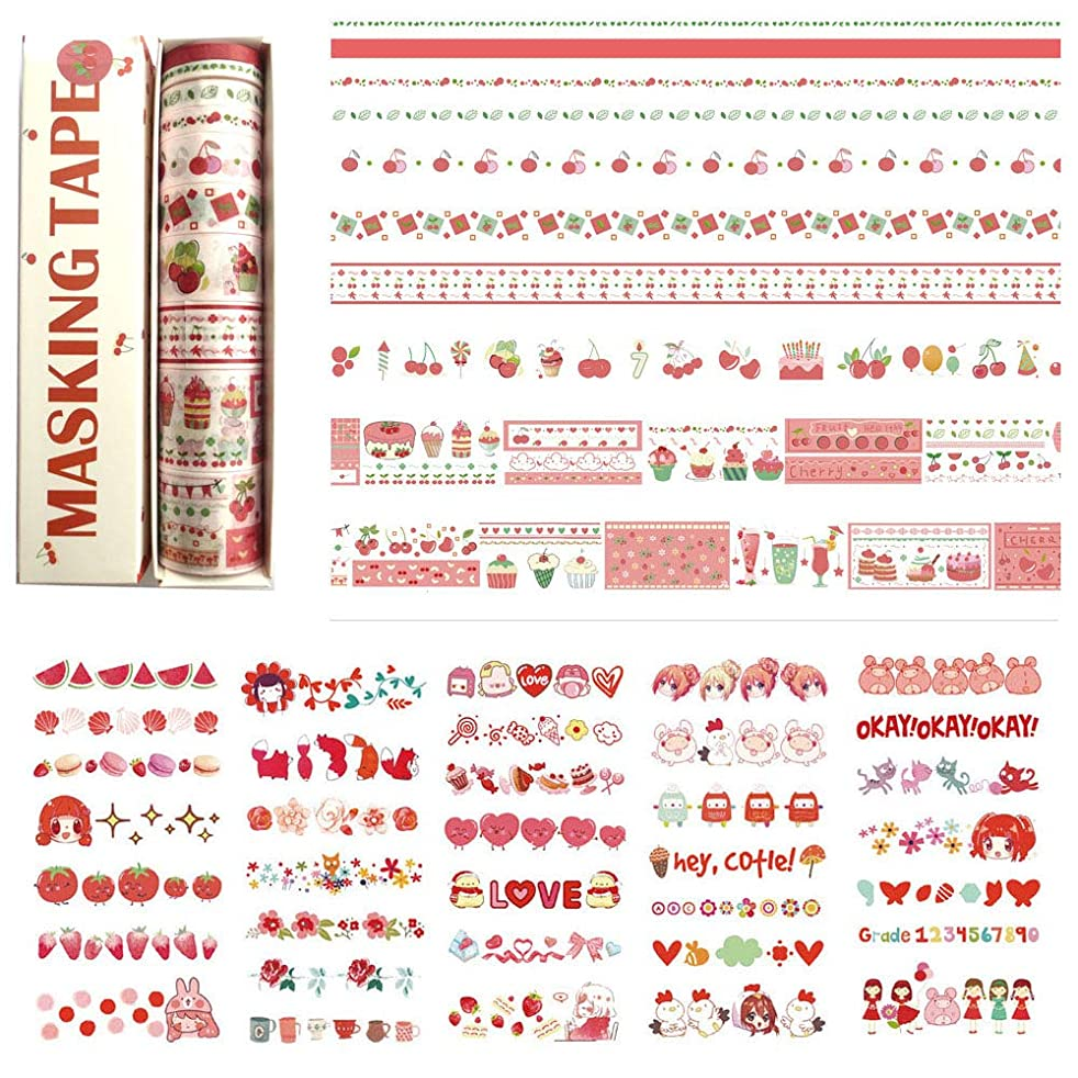 DzdzCrafts 10 Rolls Cherry Food Story Decorative Washi Tapes Set and 6 Sheets 300+ Stickers (0.5cm 0.8cm 1.5cm 2cm 3cm Wide x 2M)