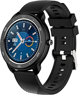 LTLJX Redondo Smartwatch Hombre Mujer Inteligente Reloj Impermeable Pulsómetro Podómetro Monitor de Sueño Calorías Pulsera Actividad Cronómetros para iOS Android,Negro,TPU
