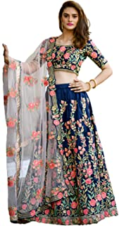 Indian Designer Navy Blue Silk resham Embroidery Woman Wedding Sangeet Lehenga Choli Dupatta 6258