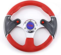 JZK New Classic Universal Steering Wheel 320mm 6 Bolts PVC Material Red Color Grip and Brushed Stainless Spokes