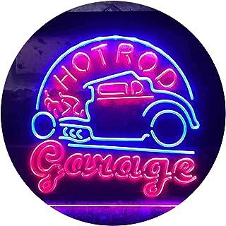Hot Rod Garage Bar Dual Color LED Neon Sign Blue & Red 400 x 300mm st6s43-i3329-br
