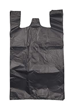 ROYAL7 Jumbo/Extra Large 19x10x32 Plastic Grocery Reusable T-Shirts Carry-Out Bags (BLACK, 200)
