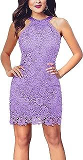 Women's Slim Dresses Sleeveless Lace Halter Cocktail Short Dress
