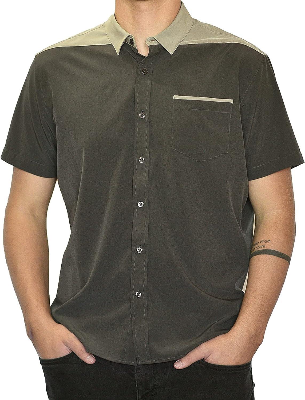 SpearPoint Apparel Men's Button Up Stretch Short-Sleeve Shirt, Soft, Breathable, Hidden Button Down Collar