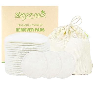 Wegreeco Cotton Rounds Reusable 16 Packs - Reusable Bamboo Makeup Remover Pads for face - Reusable Facial Pads Reusable Facial Cotton Rounds with Laundry Bag (Cotton Velour, White)