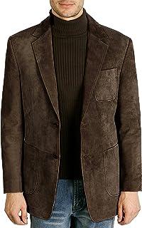 BGSD Men's Steve Classic 2-Button Suede Leather Blazer (Regular & Tall)