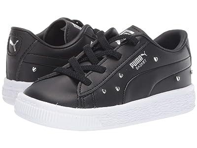 Puma Kids Basket Studs Slip-On (Toddler) (Puma Black/Puma Silver) Girls Shoes