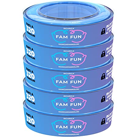 5 Ricariche Profumate Fam Fun Compatibili con Mangiapannolini Maialino Foppapedretti, AngelCare, LitterLocker, II e Design - 1600 Pannolini (Durata Stimata 6 Mesi)