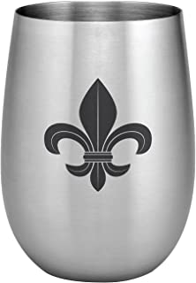 Stainless Steel 16 oz. Stemless Wine Glass, Fleur de lis