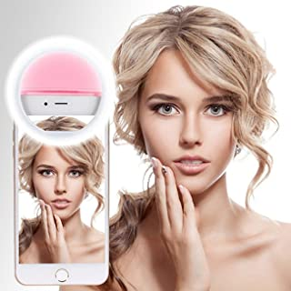 Selfie Ring Light (Dimmable), Selfie Lights Case for iPhone 6 6S 7 Plus Samsung Galaxy S6 S7 Edge Smart Phone Camera Photography Video - Pink