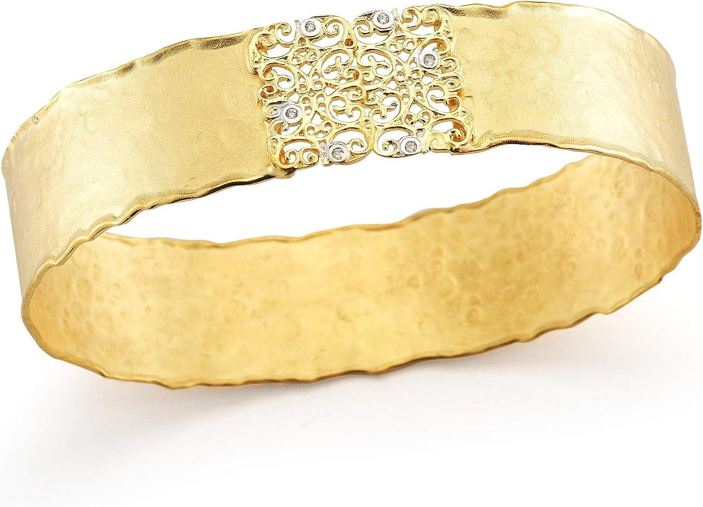 14K Yellow Gold 0.04ct TDW Diamond Accent Hammered-finish Filigree Cuff Bracelet