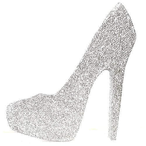 988250cb269 High Heel Stiletto Shoe (Silver Glitter