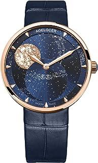 Women's Watch Top Brand Blue Moon Phase Lightweight...