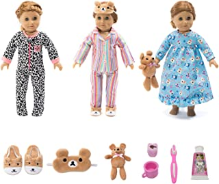 18 Inch Doll Clothes - Value Bundle-Set of 3 Doll Pajamas with Accessories, Fits 18