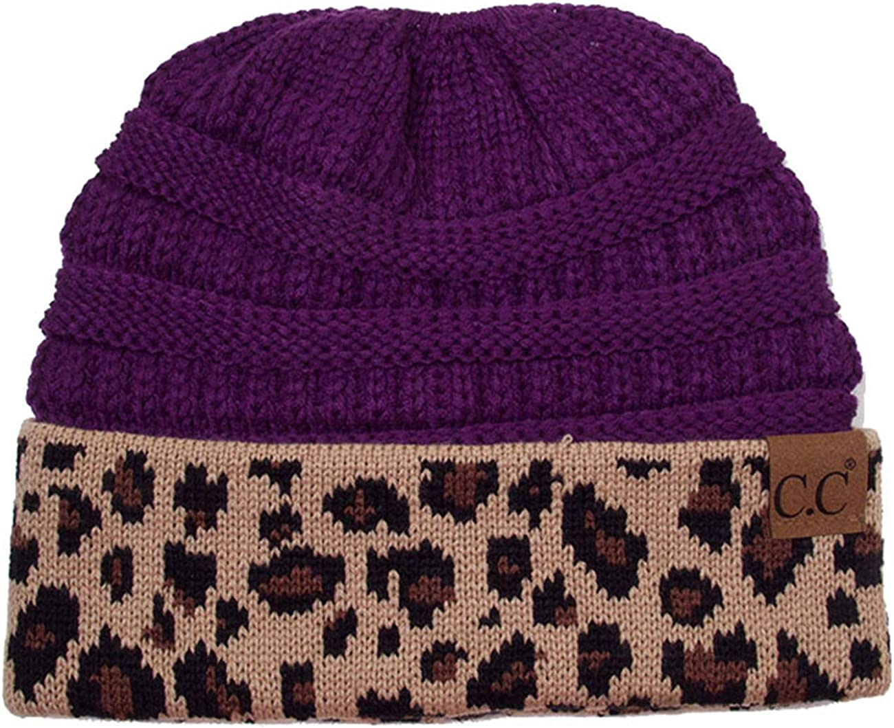 ScarvesMe CC Women Classic Solid Color with Leopard Cuff Beanie