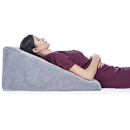 FOVERA Multi Purpose Bed Wedge Pillow - Memory Foam Top - Provides Relief from Acid Reflux, Snoring, Post Surgery (Grey Velvet, 11 Inch)